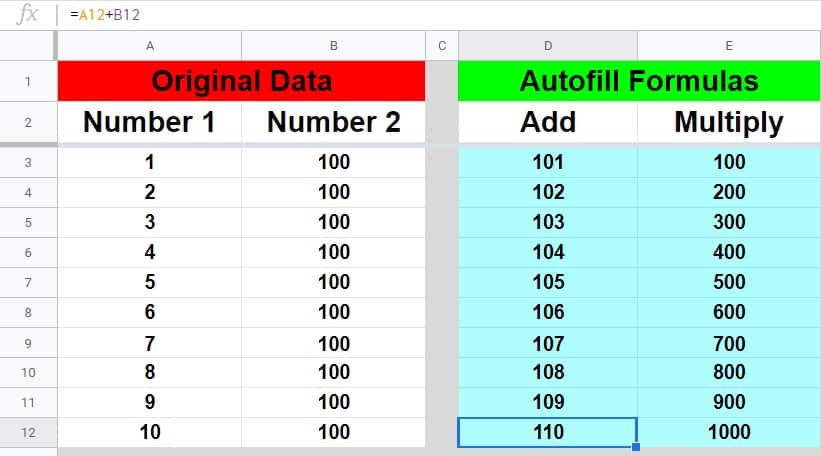 How to copy a formula down an entire column in Google Sheets
