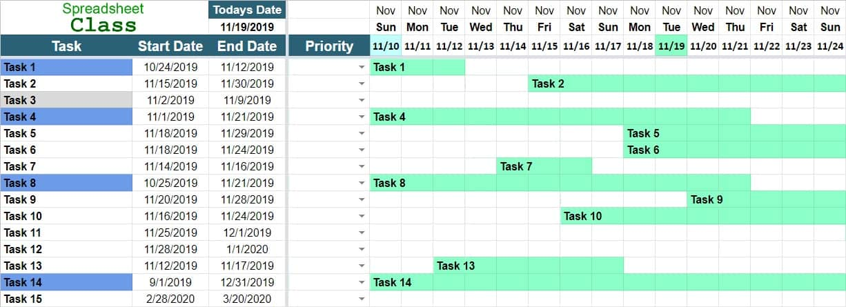 Monthly Project Timeline Template Excel from www.spreadsheetclass.com