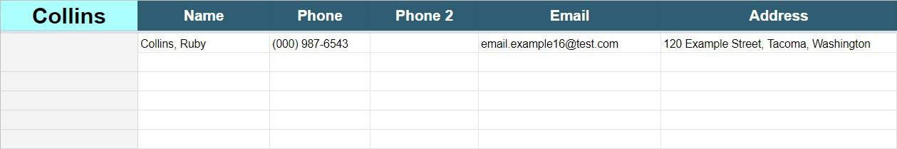 Contact List Template For Google Sheets With Built In Search